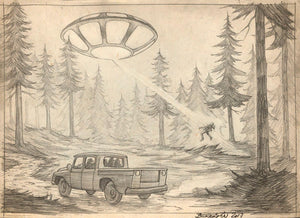 Fire in the Sky, Pencil Sketch (Signed by Bergamin)