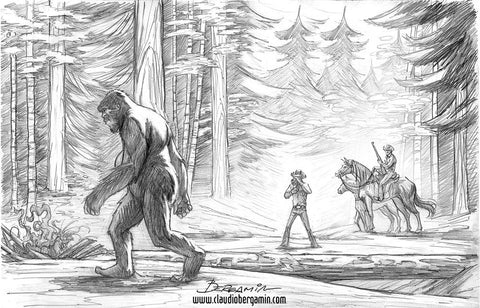 The Patterson-Gimlin Film 50th Anniversary. Pencil Sketch