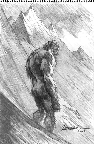 The Yeti.  Original Pencil Drawing
