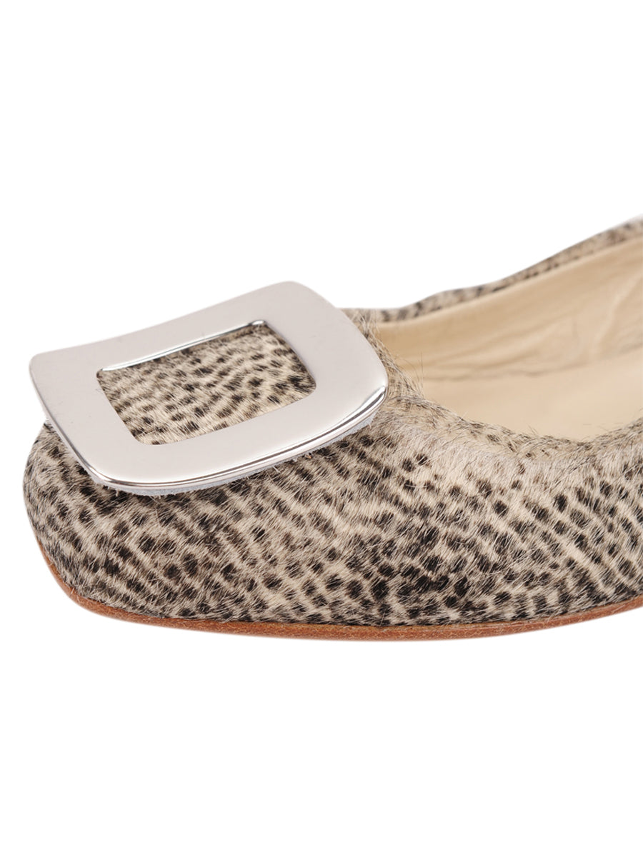Womens Beige Spotted Pony Cloud Square Toe Flat 6