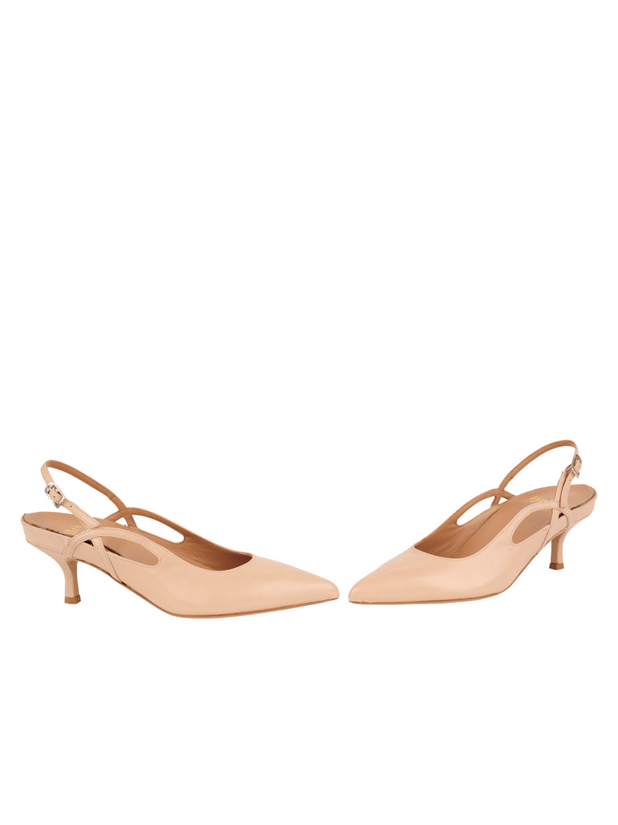 Womens Biscuit Calf Sadetta Pointed Toe Slingback 5