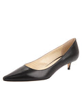 Womens Black Nappa Born Pointed Toe Kitten Heel