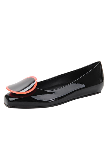 Womens Black Patent/Neon Ornament Cloud Square Toe Flat
