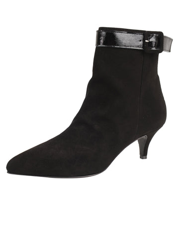 Womens Black Suede Brenda Pointed Toe Bootie