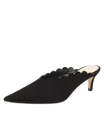 Womens Black Suede Niki Scalloped Mule