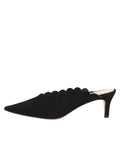 Womens Black Suede Niki Scalloped Mule 7
