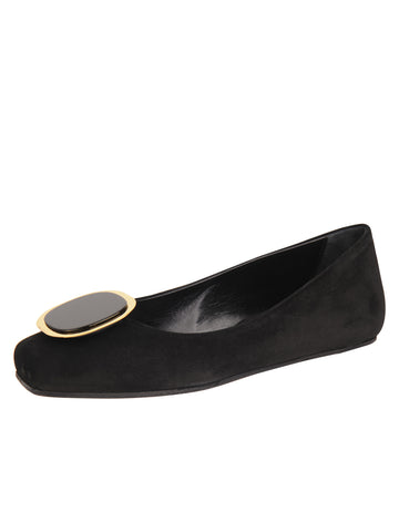 Womens Black Suede Cloud Square Toe Flat