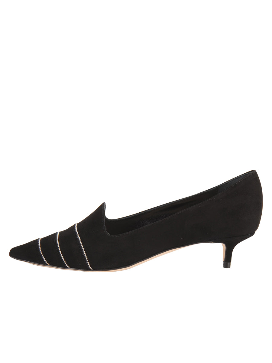 Womens Black Suede Bayley Pointed Toe Kitten Heel 7