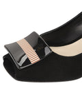 Womens Black Suede Daeja Block Heeled Pump 6