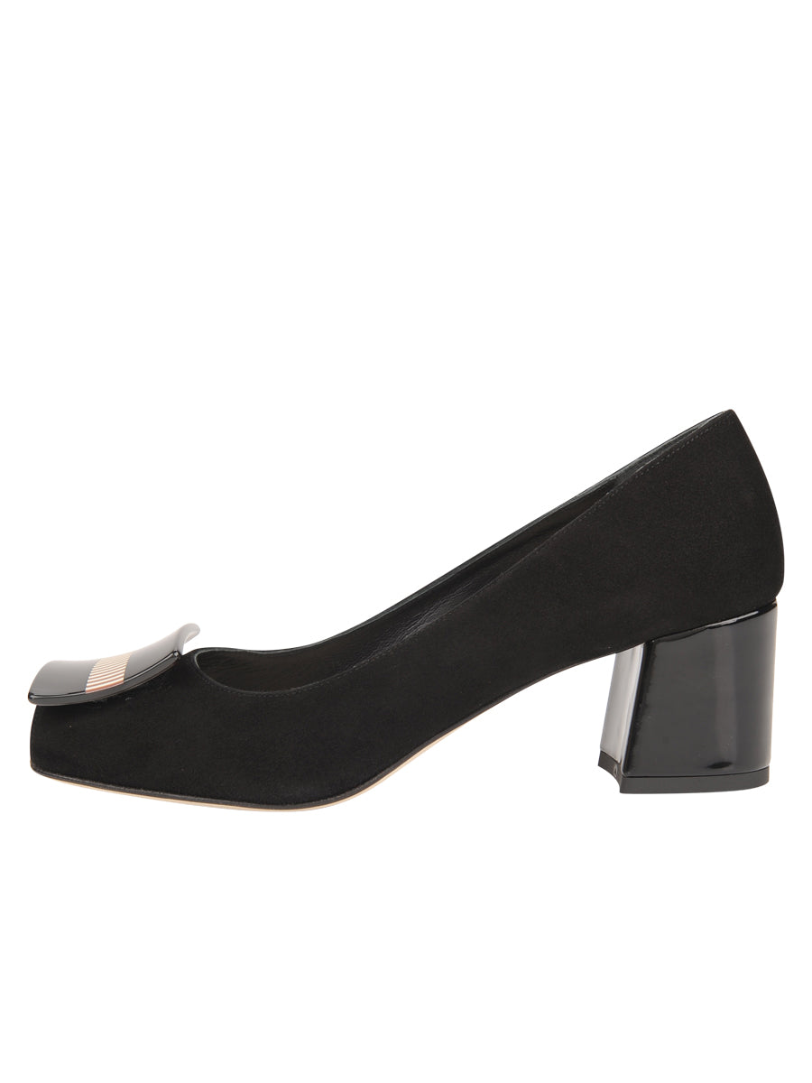 Womens Black Suede Daeja Block Heeled Pump 7