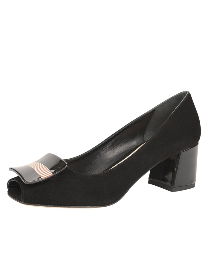 Womens Black Suede Daeja Block Heeled Pump
