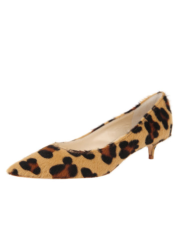 Womens Cheetah Haircalf Born Pointed Toe Kitten Heel