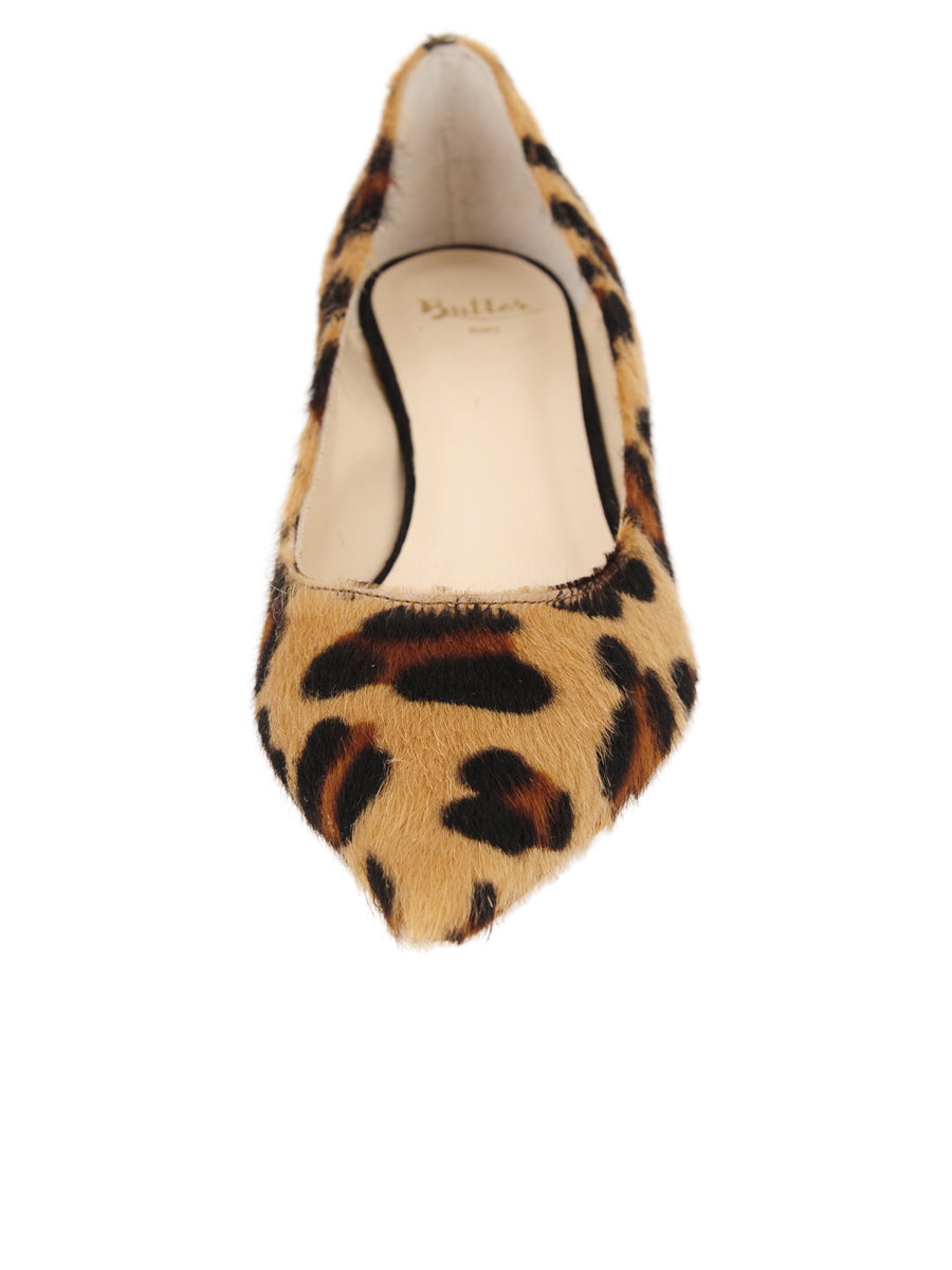 Womens Cheetah Haircalf Born Pointed Toe Kitten Heel 4