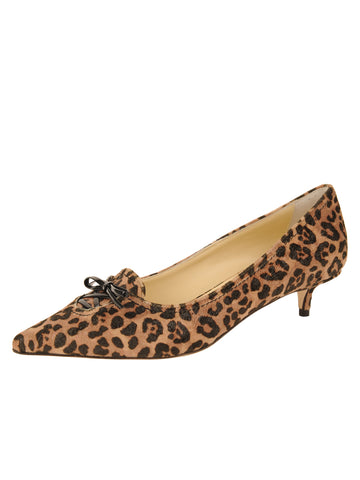Womens Cheetah Shimmer Fabric Brusca Pointed Toe Kitten Heel