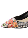 Womens Flower Snake Stamp Born Pointed Toe Kitten Heel 6