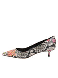 Womens Flower Snake Stamp Born Pointed Toe Kitten Heel 7