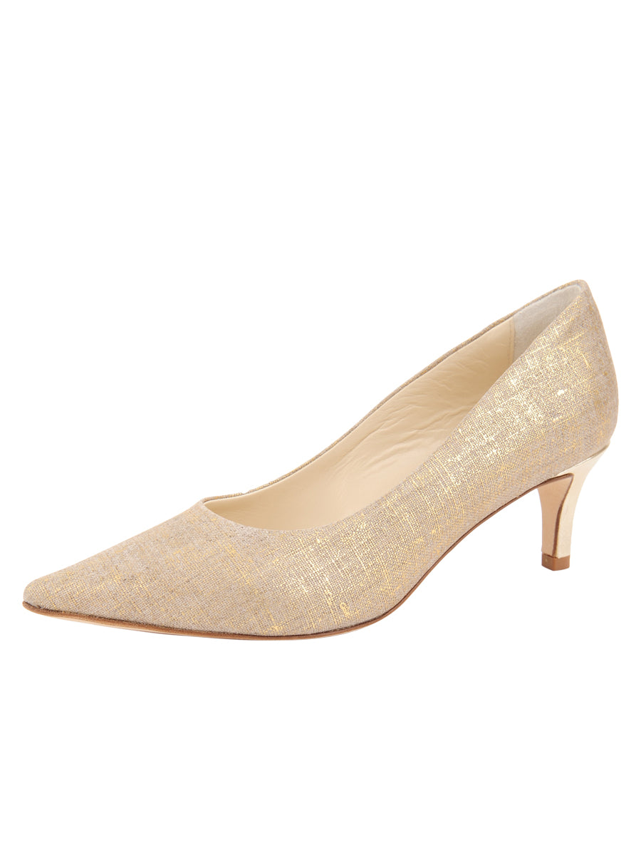 Womens Gold Wash Linen Nova Pointed Toe Pump