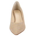 Womens Gold Wash Linen Nova Pointed Toe Pump 4