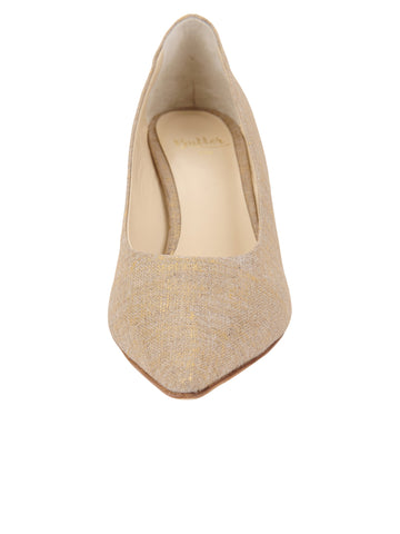 Womens Gold Wash Linen Nova Pointed Toe Pump 4 Alternate View