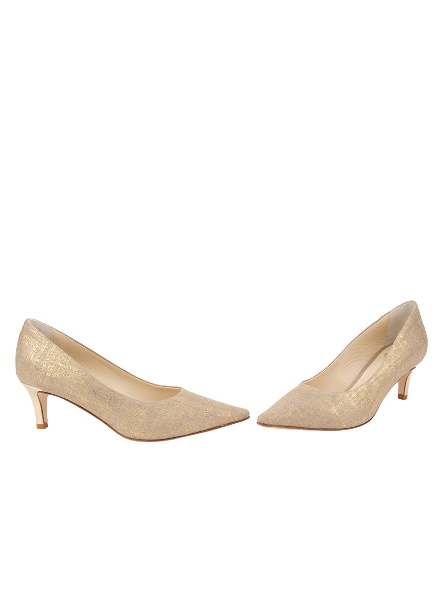 Womens Gold Wash Linen Nova Pointed Toe Pump 5