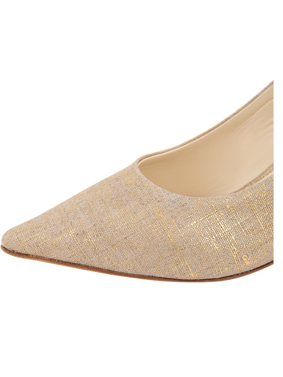 Womens Gold Wash Linen Nova Pointed Toe Pump 6