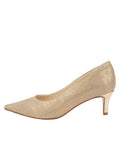 Womens Gold Wash Linen Nova Pointed Toe Pump 7