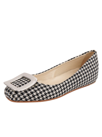 Cloud Square Toe Flat - Houndstooth Print