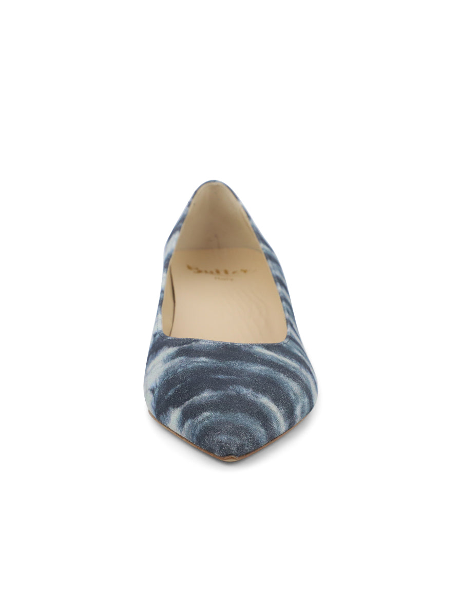 Womens Jean Tie Dye Deluxe Pointed Toe Kitten Heel 4