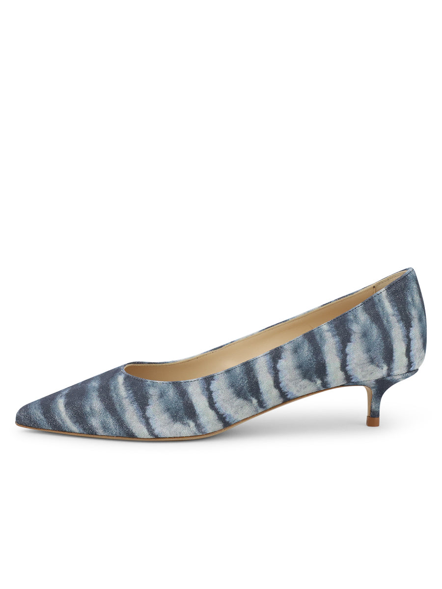 Womens Jean Tie Dye Deluxe Pointed Toe Kitten Heel 7