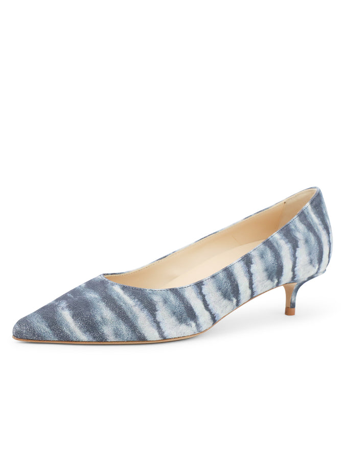 Womens Jean Tie Dye Deluxe Pointed Toe Kitten Heel