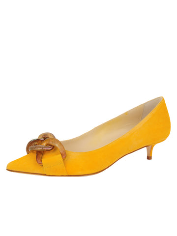 Womens Lemon Suede Bimmi Kitten Heel
