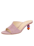 Womens Lilac Suede Orena Decorative Heeled Sandal