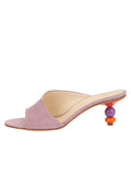Womens Lilac Suede Orena Decorative Heeled Sandal 7