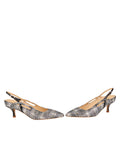 Womens Navy Multi Sadetta Pointed Toe Slingback 5