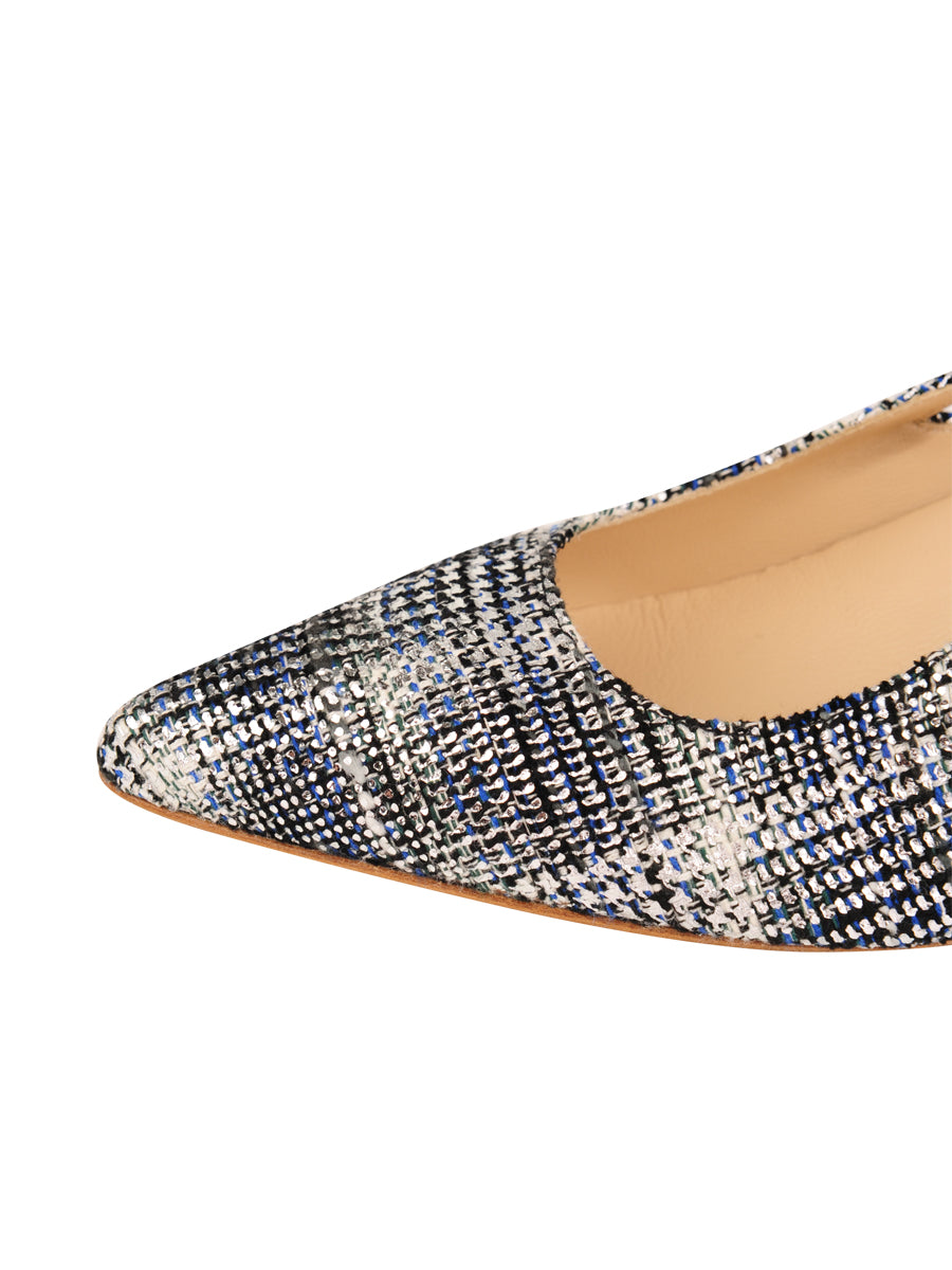 Womens Navy Multi Sadetta Pointed Toe Slingback 6