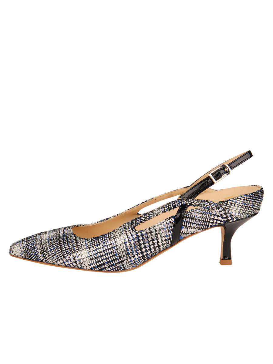 Womens Navy Multi Sadetta Pointed Toe Slingback 7