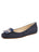 Womens Navy Suede Cain Square Toe Flat
