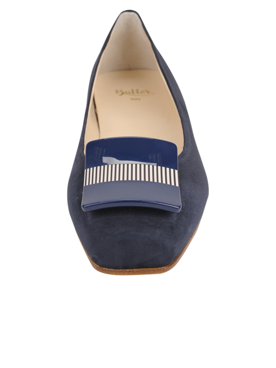Womens Navy Suede Cain Square Toe Flat 4