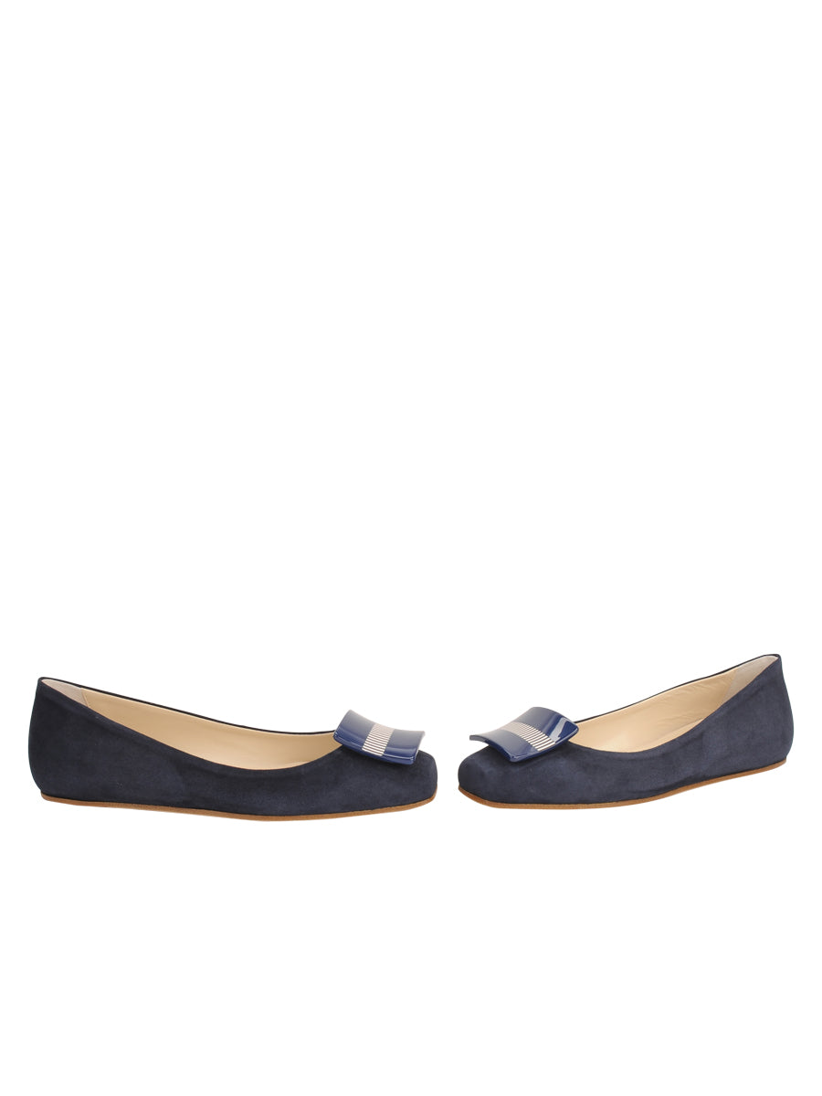 Womens Navy Suede Cain Square Toe Flat 5