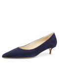Womens Navy Suede Deluxe Pointed Toe Kitten Heel