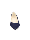 Womens Navy Suede Deluxe Pointed Toe Kitten Heel 4