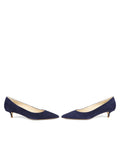 Womens Navy Suede Deluxe Pointed Toe Kitten Heel 5