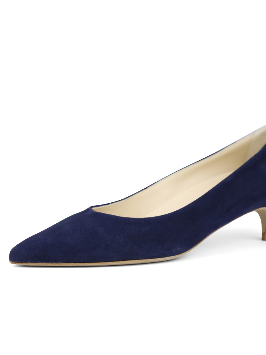 Womens Navy Suede Deluxe Pointed Toe Kitten Heel 6
