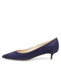 Womens Navy Suede Deluxe Pointed Toe Kitten Heel 7