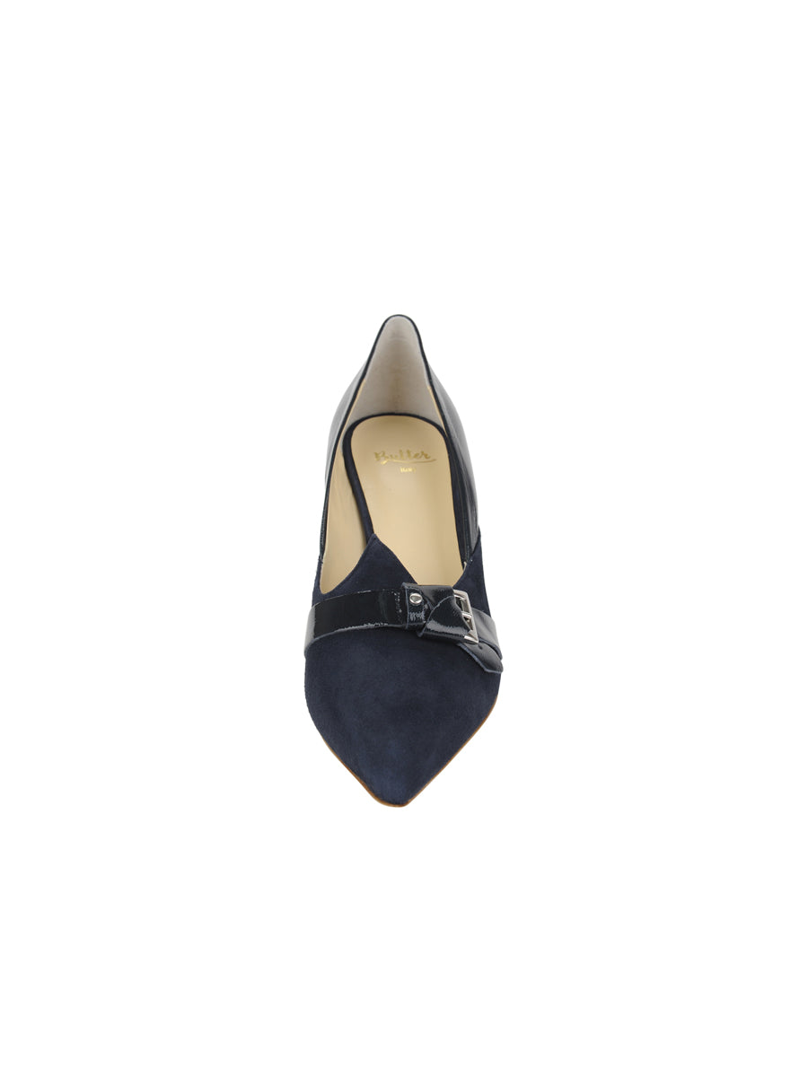 Womens Navy Suede Emilia Pointed Toe Pump 4