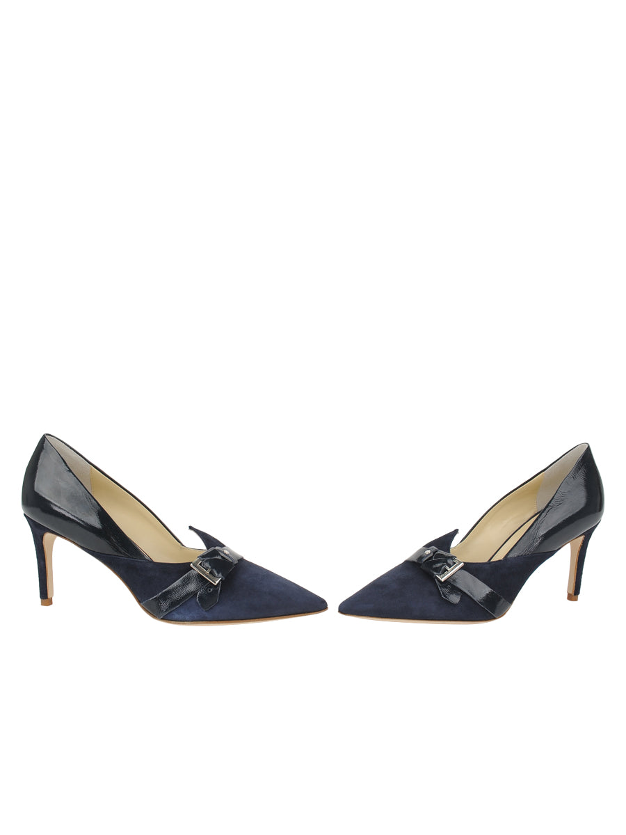 Womens Navy Suede Emilia Pointed Toe Pump 5