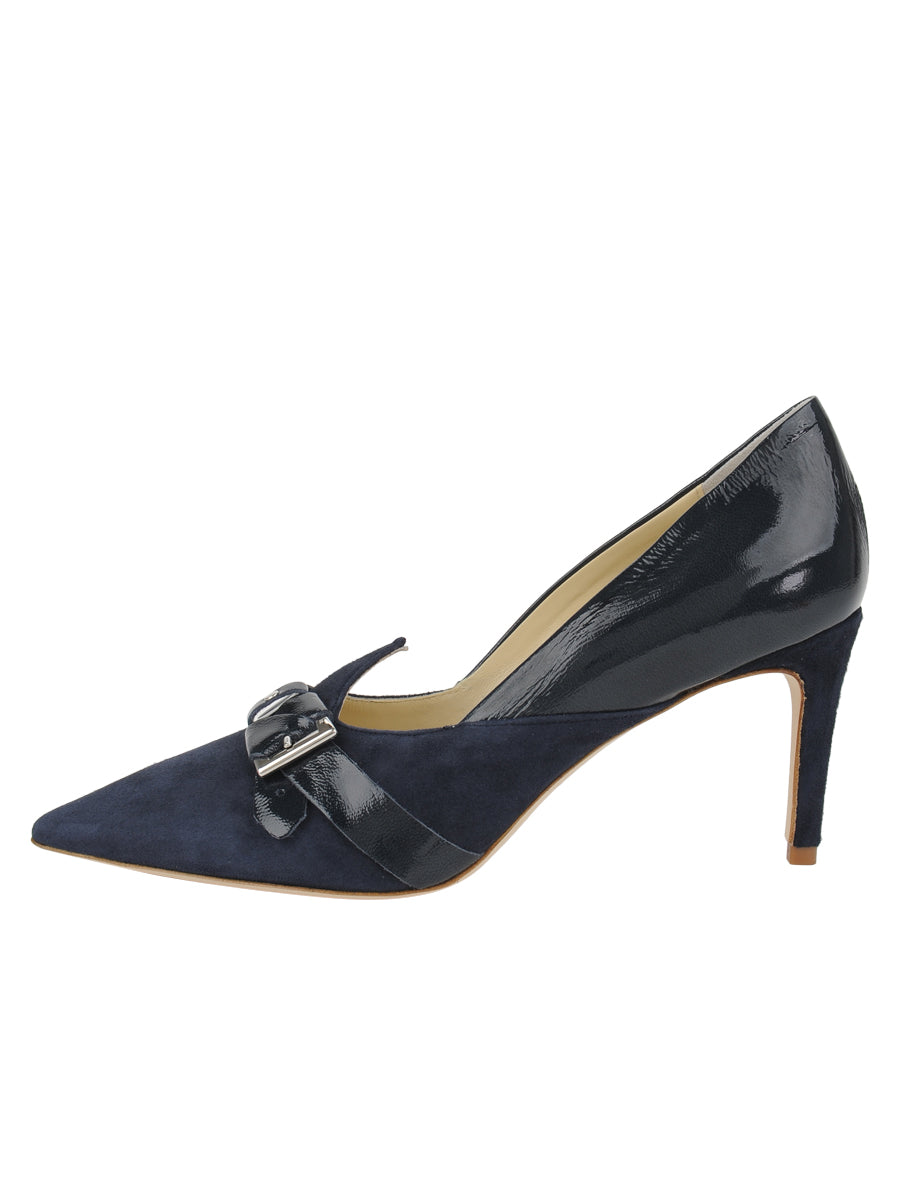 Womens Navy Suede Emilia Pointed Toe Pump 7