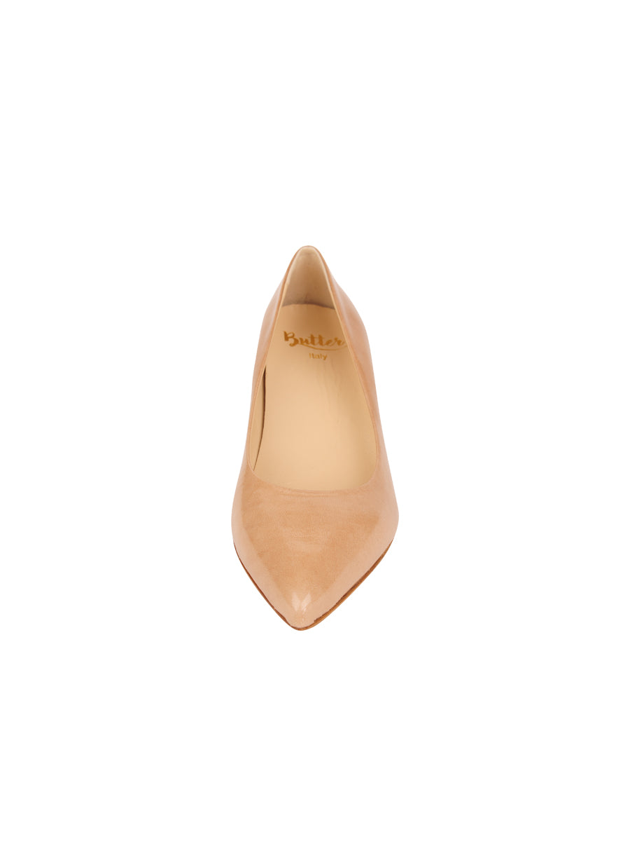 Womens Nude Patent Softly Pointed Toe Pump 4