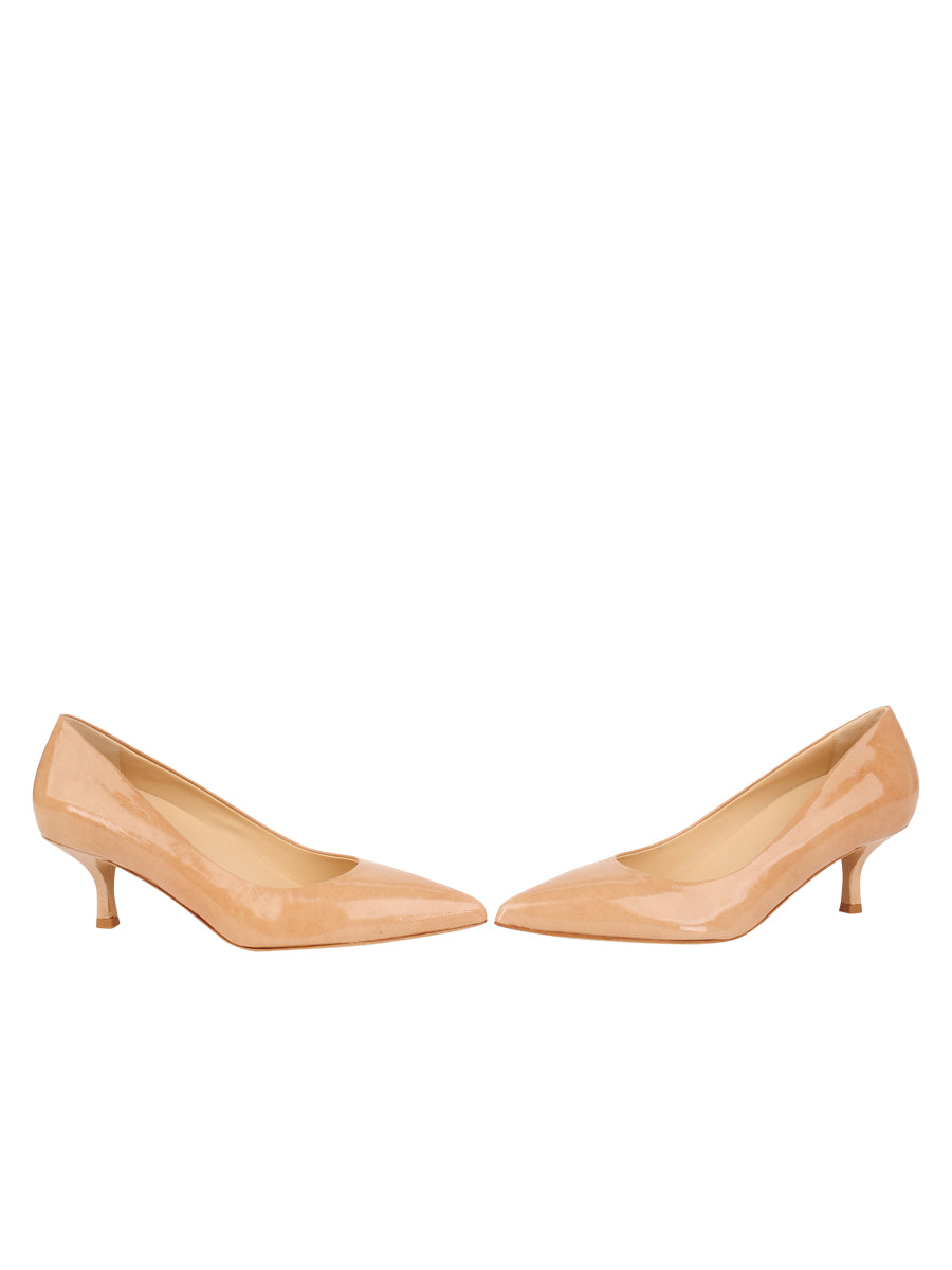 Womens Nude Patent Softly Pointed Toe Pump 5