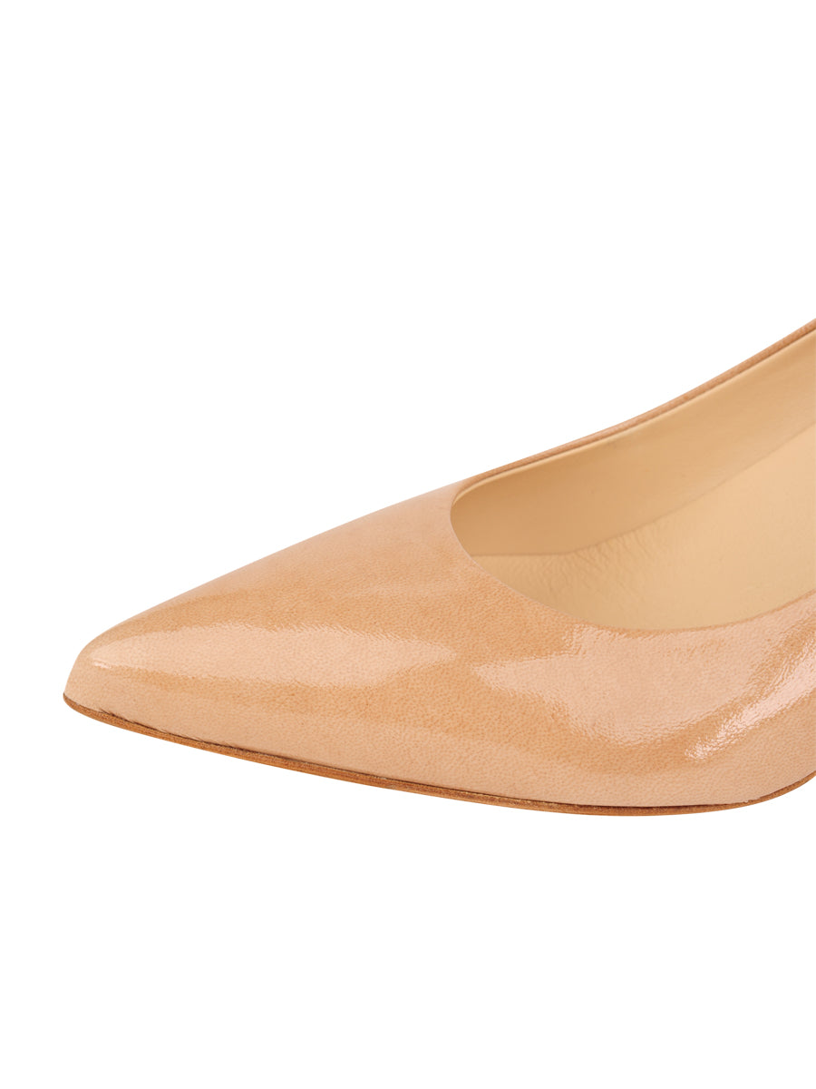 Womens Nude Patent Softly Pointed Toe Pump 6